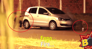 Incendio simulado en un coche para gastar una broma