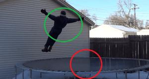 Salto sobre cama elástica congelada