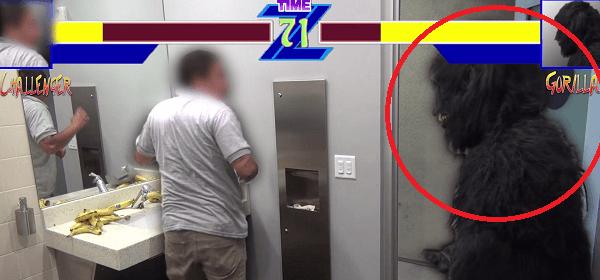 Broma gorila a la fuga en el baño