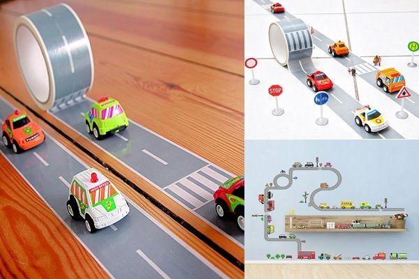 Cinta adhesiva con el diseño de una carretera