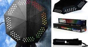 Paraguas que cambia de colores al contacto con el agua