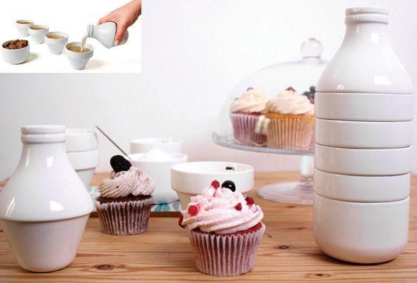 Botella de leche ¡sorpresa! Original set de tazas para el café/té